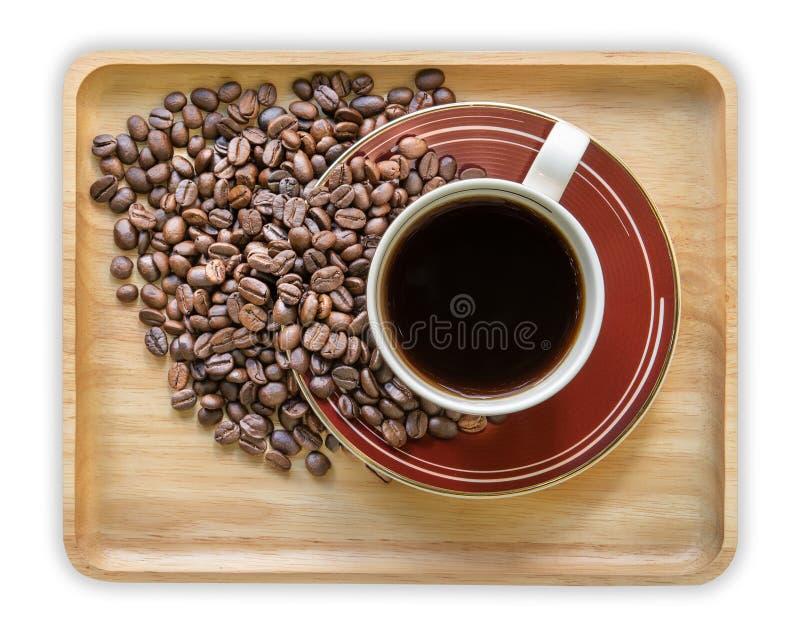 饮料,咖啡杯和咖啡豆在白色背景,顶视图 免版税库存图片