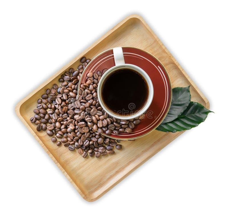饮料,咖啡杯和咖啡豆在白色背景,顶视图 库存图片