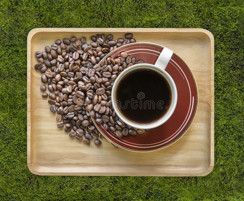 饮料,咖啡杯和咖啡豆在青苔背景,顶视图 免版税库存照片