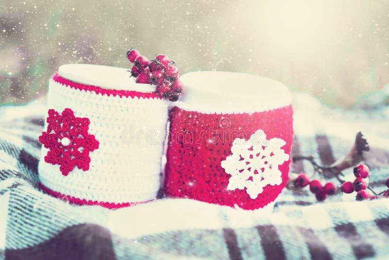 饮料 两个杯子茶,冬天雪背景 免版税库存图片