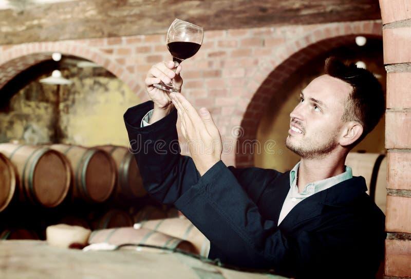饮用成年男性的酿酒商杯酒 库存图片