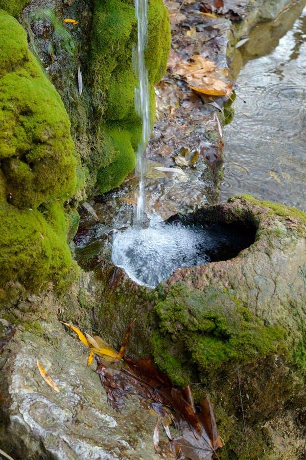 饮用水的水源在城市公园 免版税库存照片
