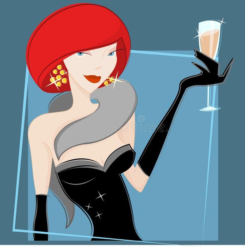 饮用的向量酒妇女 库存例证