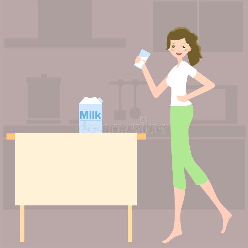 饮用的女孩牛奶 向量例证