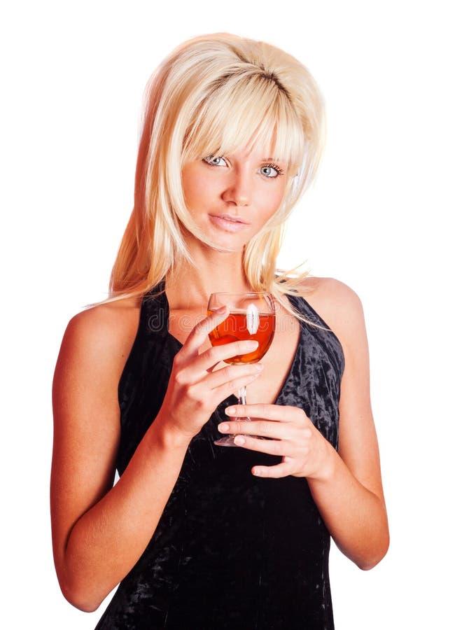 饮用的女孩酒 库存图片