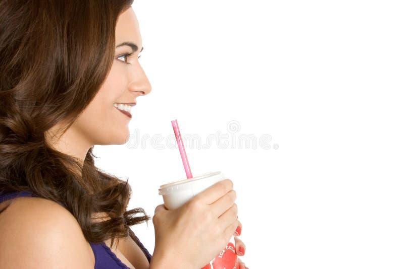 饮用的碳酸钠妇女 库存照片