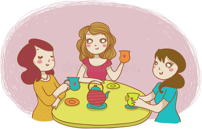 饮用的茶三名妇女 向量例证