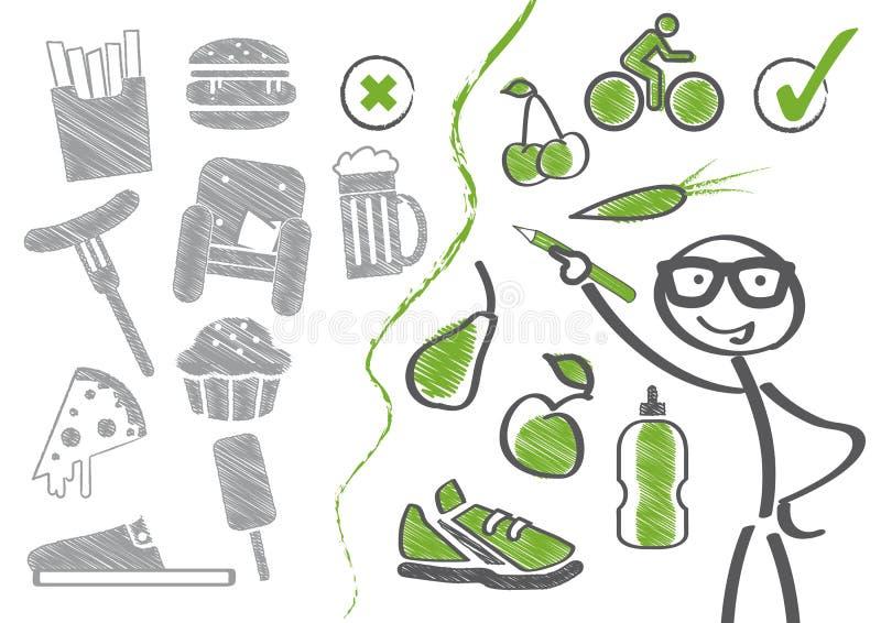 """饮食â€的变动""""健康生活 向量例证"""