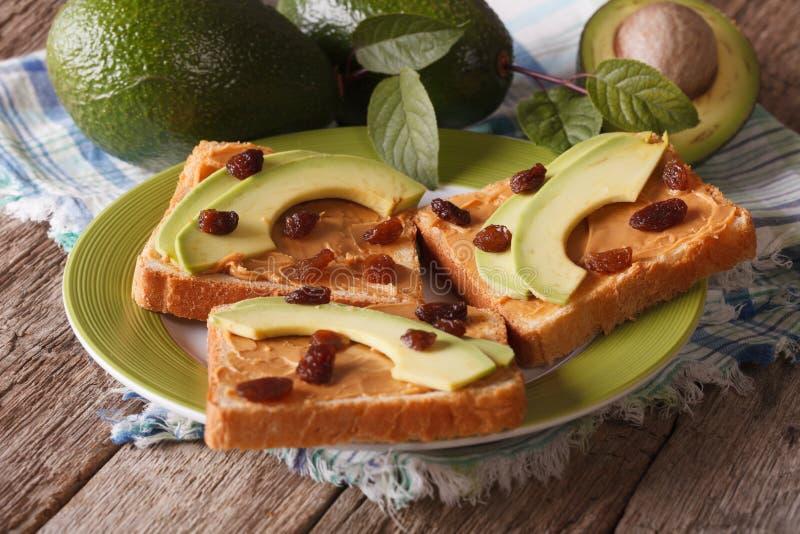 饮食三明治用花生酱、鲕梨和葡萄干特写镜头 免版税库存照片