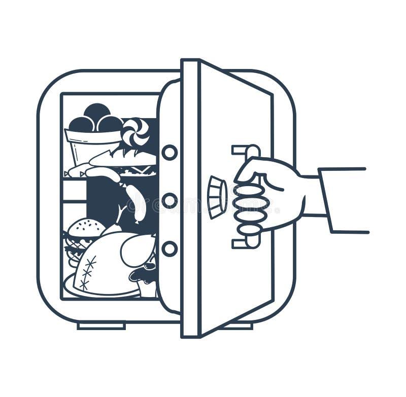 饮食保险柜冰箱的概念 皇族释放例证