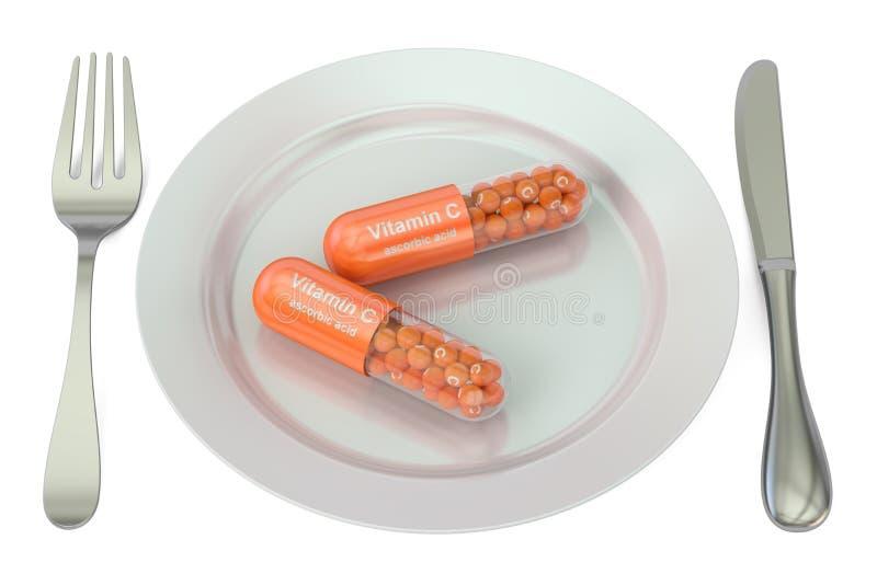 饮食和健康膳食概念 有维生素C胶囊的, 3D板材 皇族释放例证