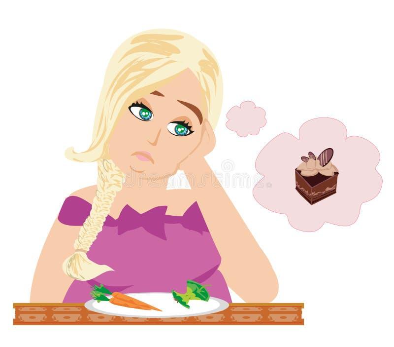 饮食女孩 向量例证