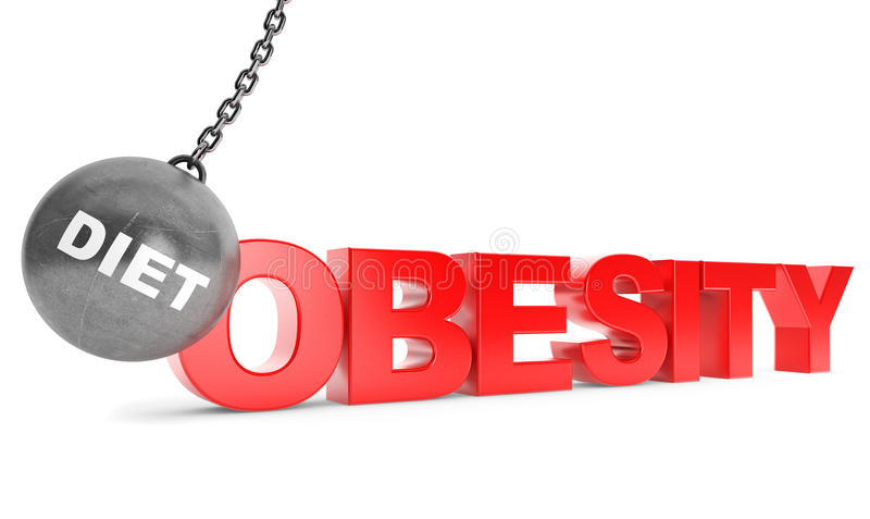 饮食毁坏肥胖病概念 击毁作为体育的球与Obesi 免版税库存照片