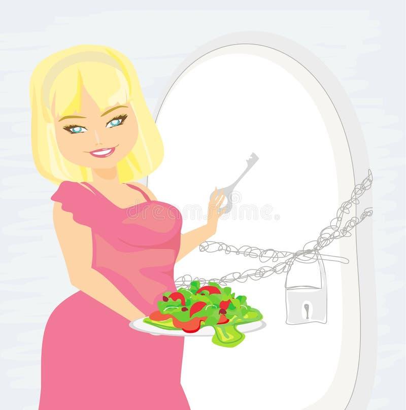 饮食的女孩 库存例证