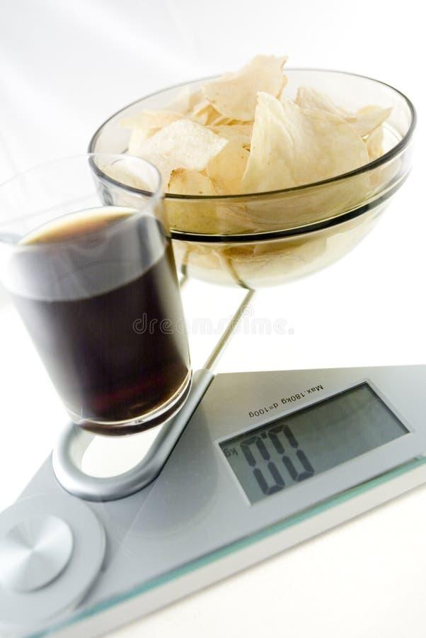 饮食筹码和焦炭 库存图片