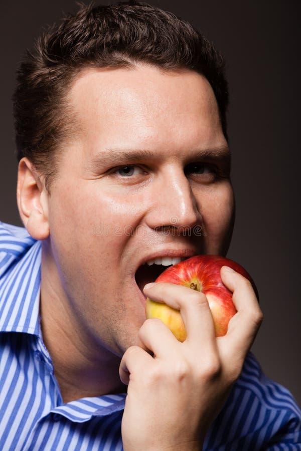 饮食营养 愉快的人尖酸的苹果果子 免版税库存照片