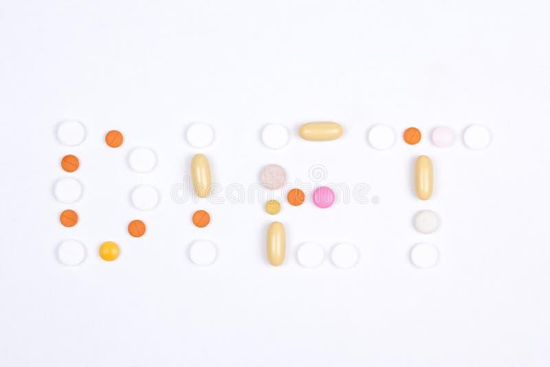 饮食词文本由五颜六色的片剂制成 免版税库存图片