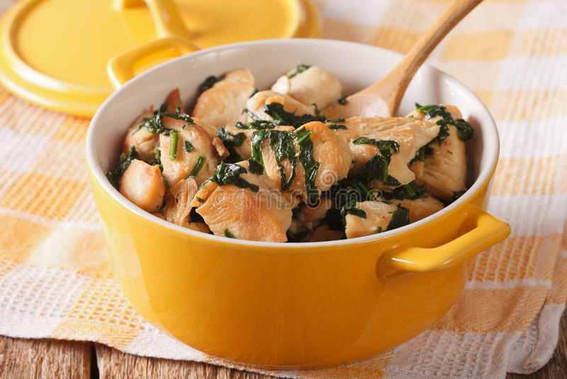 饮食食物:鸡胸脯炖用在平底深锅的菠菜 库存照片
