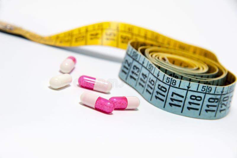 饮食-评定的磁带和药片 库存照片