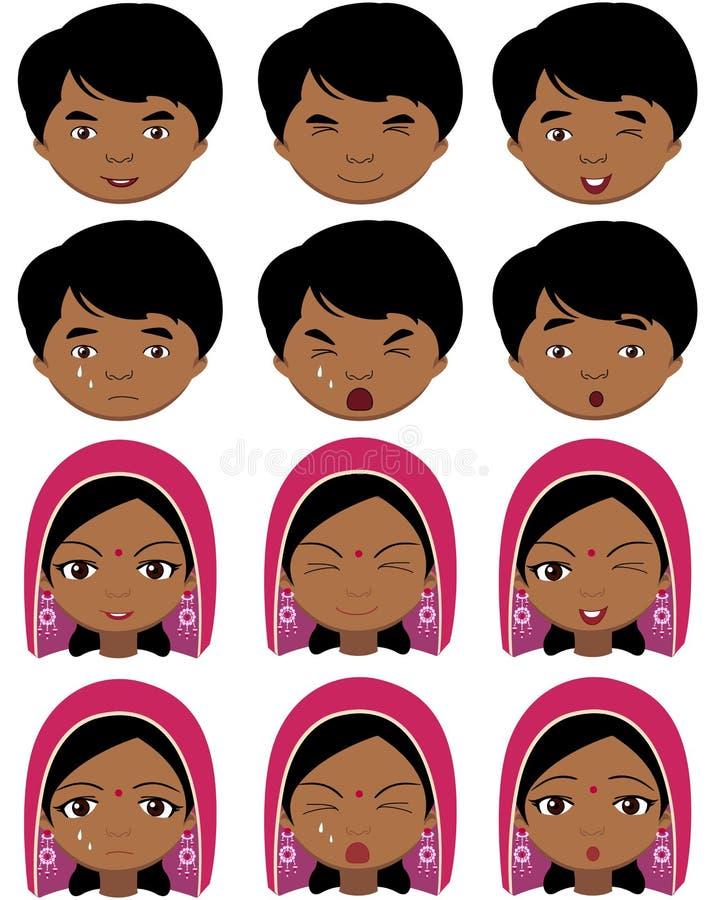 头饰和男孩情感的印地安女孩:喜悦,惊奇 皇族释放例证