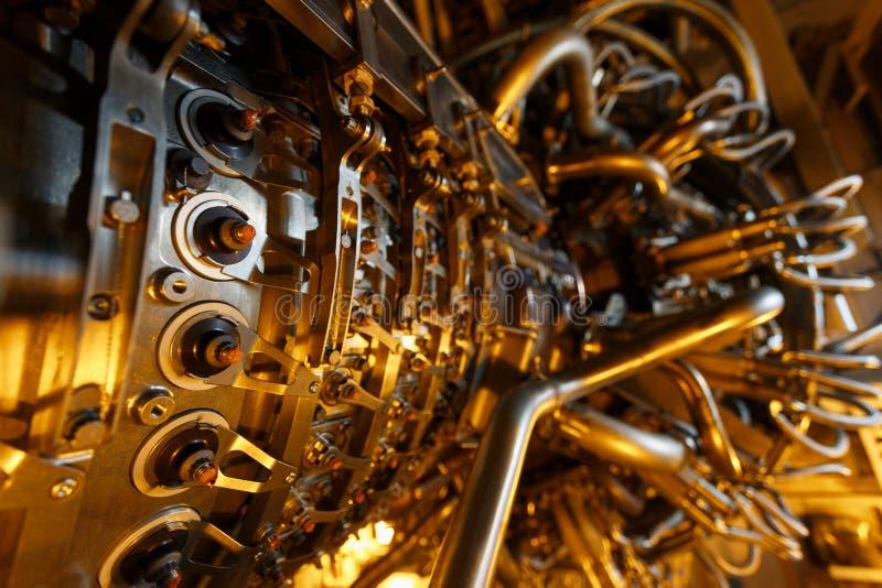 饲料压气机被找出的里面被加压的封入物汽轮机引擎,汽轮机引擎用于近海处 图库摄影
