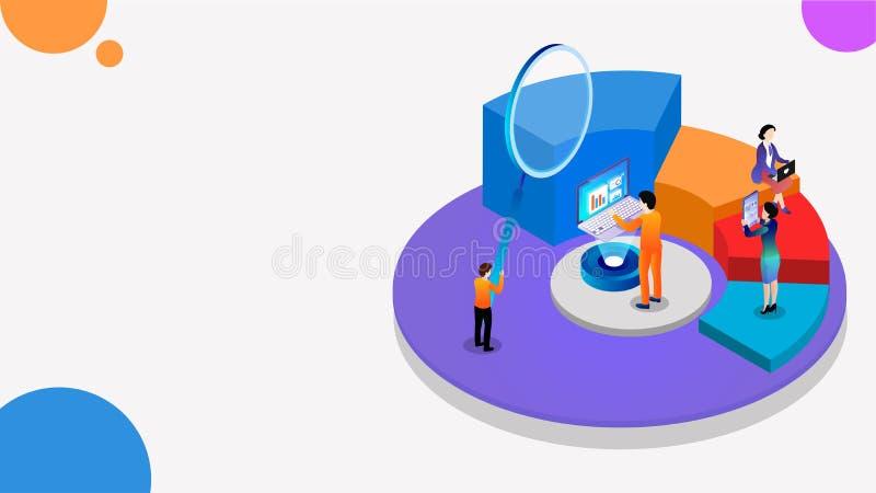 饼图、放大镜和业务分析的3D等距图分析财务增长或数据的数据 皇族释放例证