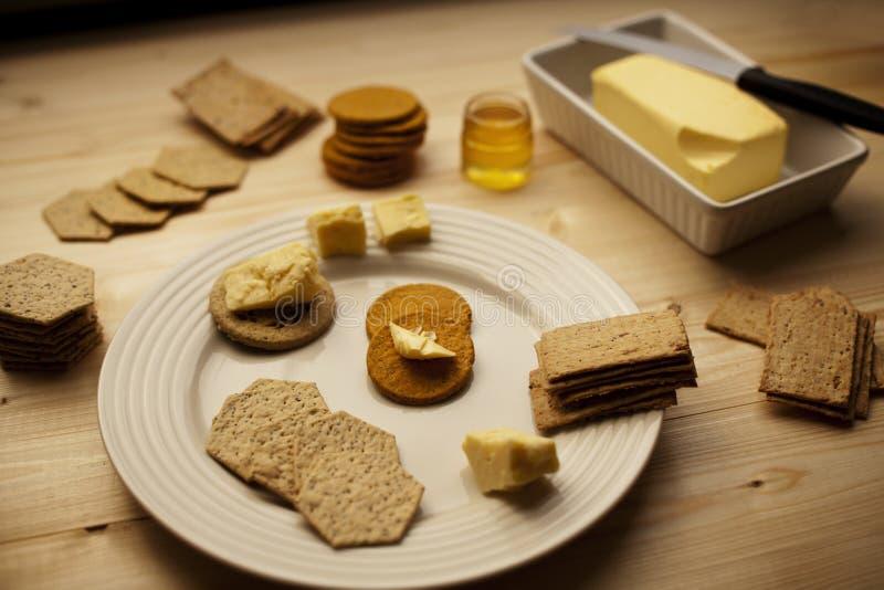 饼干、茶和蜂蜜所有的 库存照片