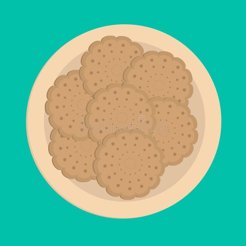 饼干在板材的曲奇饼薄脆饼干。 皇族释放例证