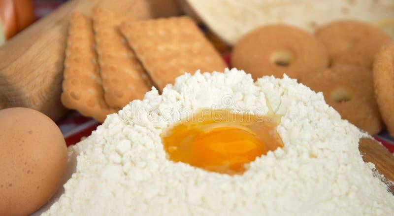 饼干蛋面粉意大利面食 库存照片