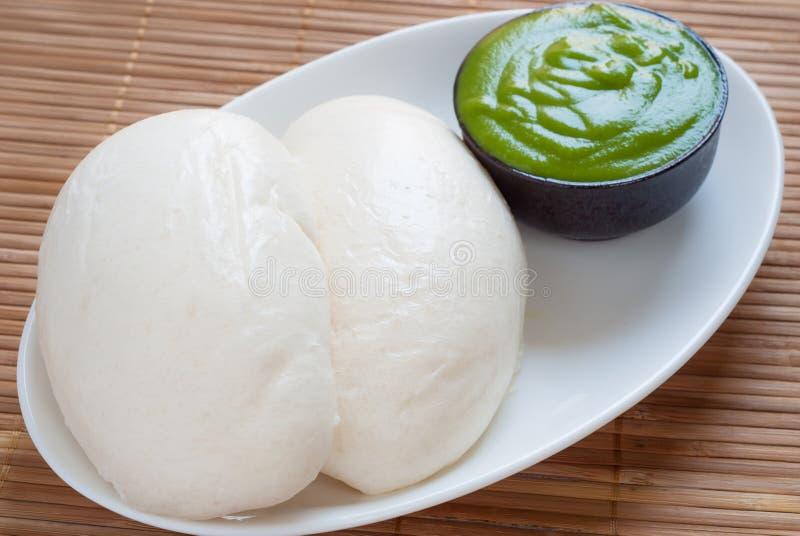 馒头山汉语蒸小圆面包用泰国pandan乳蛋糕 免版税图库摄影