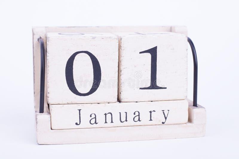 首先日历1月孤立 库存照片