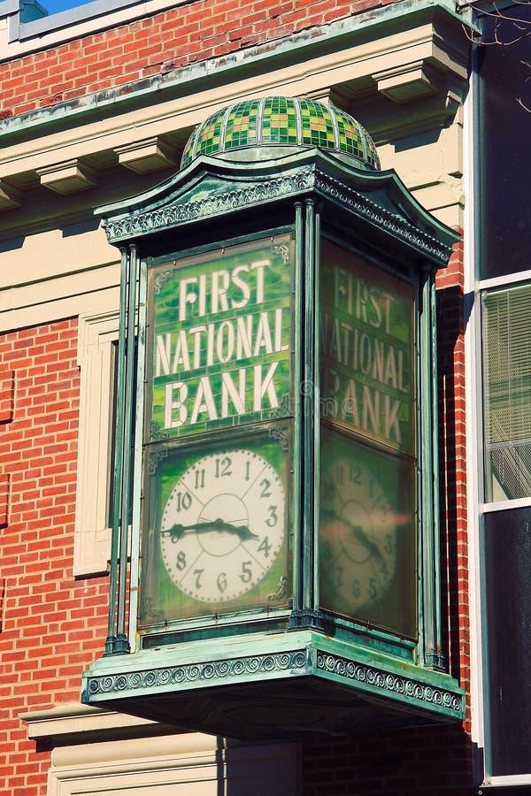 首先银行时钟国民 库存照片