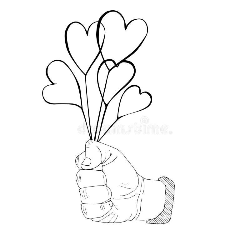 首先紧抓住与心脏花束手拉的剪影 免版税库存照片