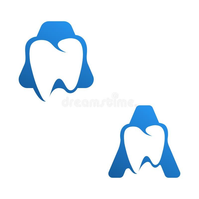 首写字母一个牙齿抽象商标设计传染媒介例证 向量例证