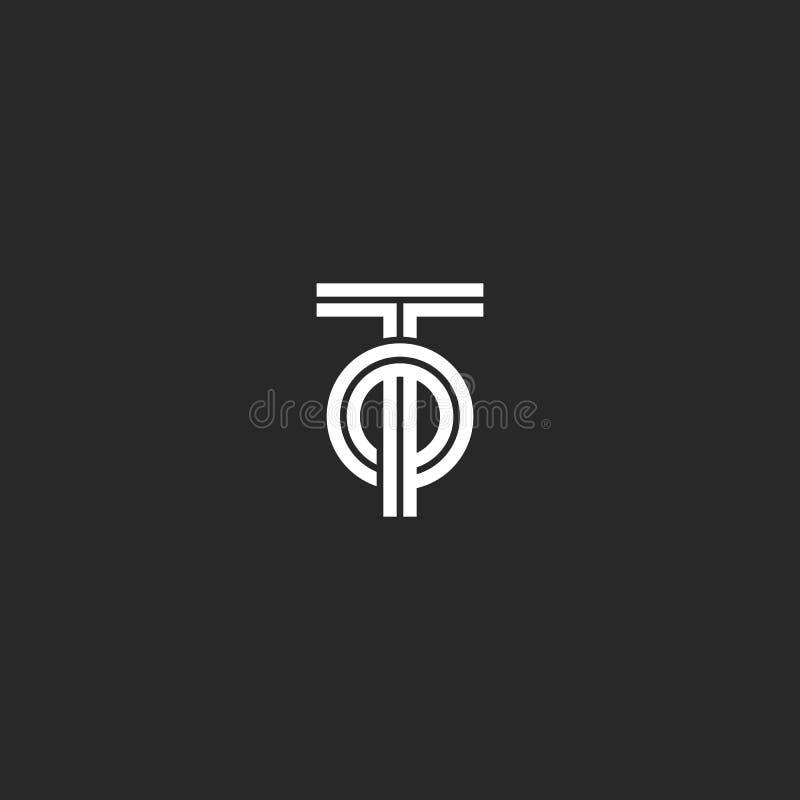 首写字母对或OT创造性的商标组合图案,重叠两条信件T和O平行线几何形状,最低纲领派样式 向量例证