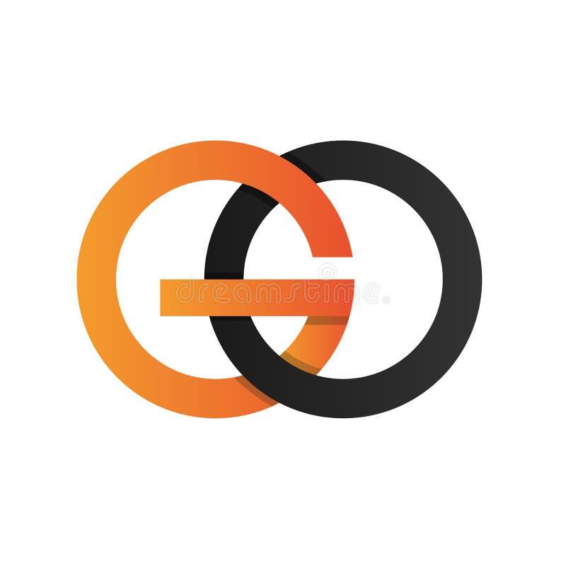 首写字母去与被连接的干净的颜色的被环绕的ico商标 皇族释放例证