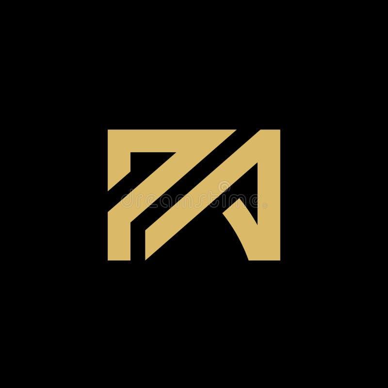 首写字母PA商标象,典雅的设计观念,在黑背景-传染媒介的金子 皇族释放例证