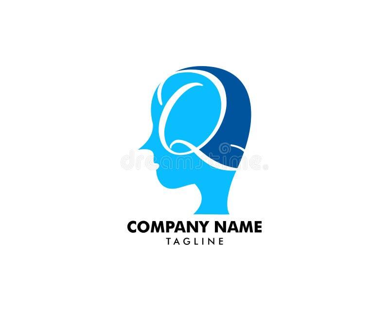 首写字母Q和人顶头象商标设计元素 向量例证