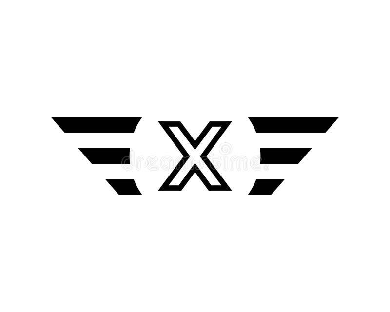首写字母x黑色翼商标模板传染媒介 皇族释放例证