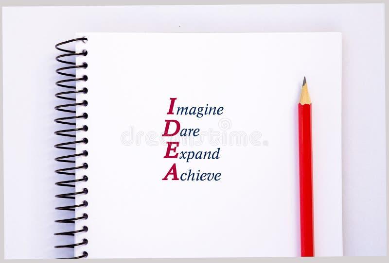 首字母缩略词想法-想象,敢,扩展,达到 概念 库存照片