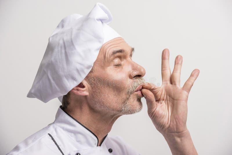 首要厨师查出的白色 库存照片