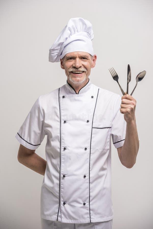 首要厨师查出的白色 免版税图库摄影