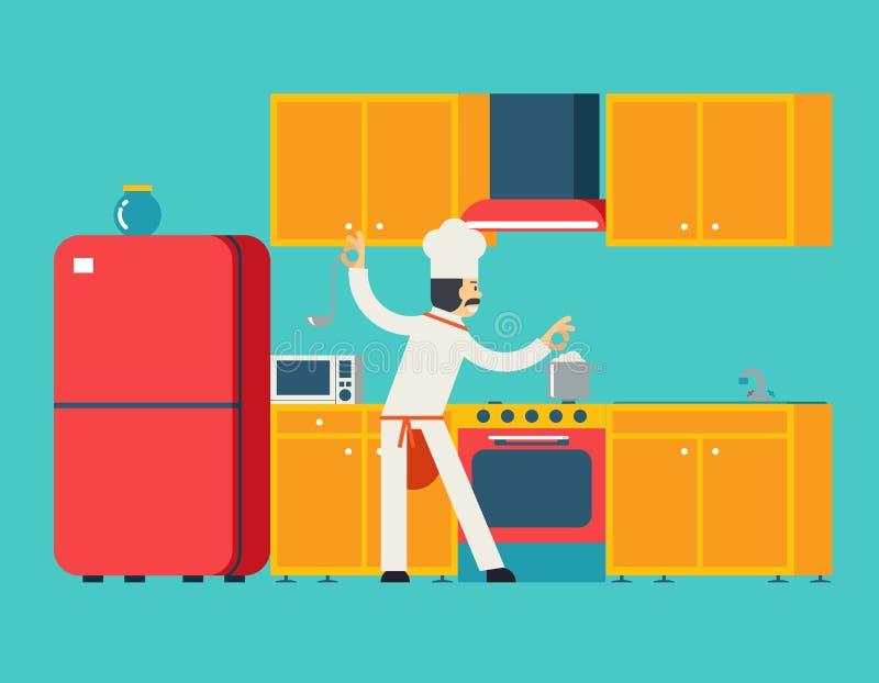 首要厨师食物盘室厨房家具议院 皇族释放例证
