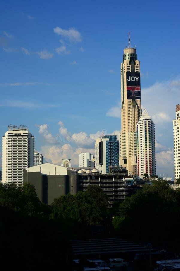 首都,曼谷,泰国的高级职务大厦的看法, 免版税图库摄影