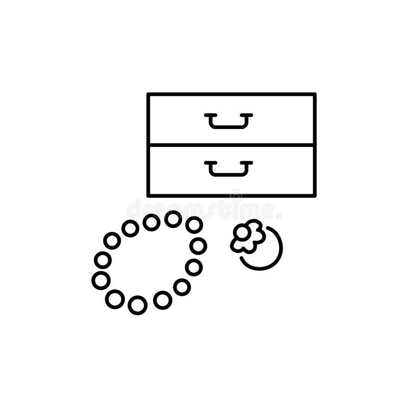 首饰持有人的黑&白色传染媒介例证与圆环, b的 向量例证