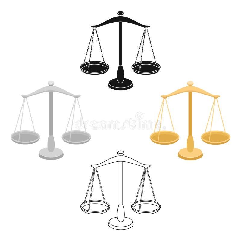 首饰的标度 测量的处罚的重量 在动画片,黑样式传染媒介标志股票的监狱唯一象 向量例证