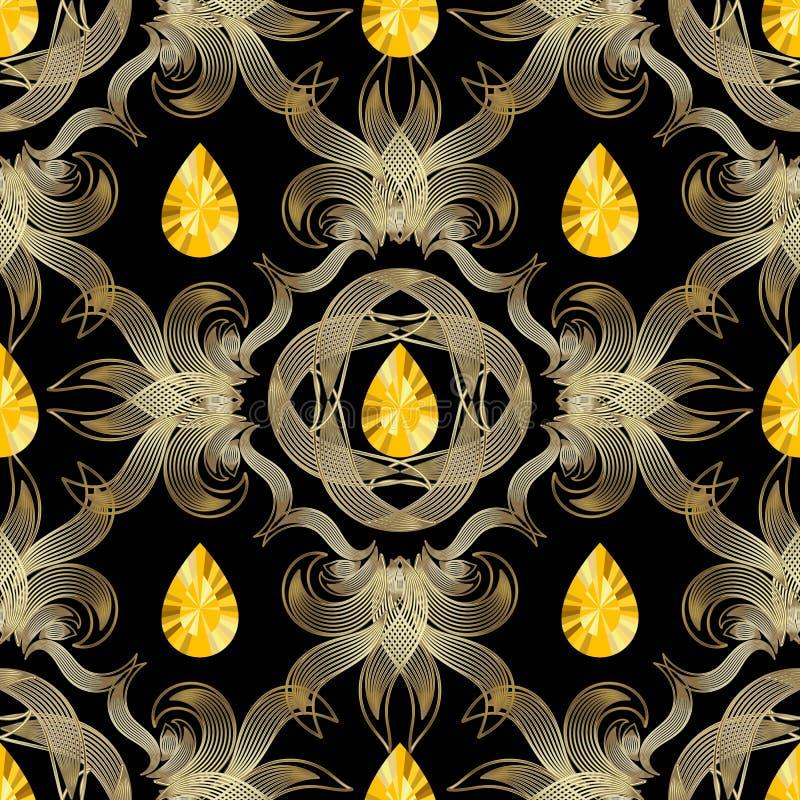 首饰葡萄酒无缝的样式 华丽传染媒介金刚石背景 黄色金刚石宝石 线艺术网眼图案金子高雅 向量例证