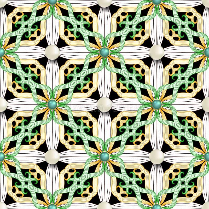 首饰蔓藤花纹无缝的样式 传染媒介葡萄酒阿拉伯样式花卉背景 线艺术网眼图案与3d绿色的高雅花 皇族释放例证