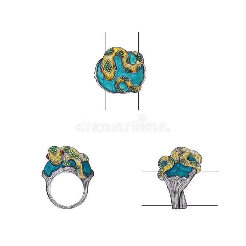 首饰设计艺术蛇圆环 库存例证