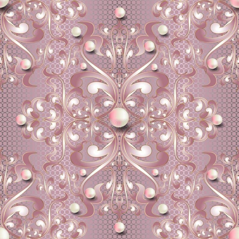首饰3d巴洛克式的传染媒介无缝的样式 浅粉红色的高雅有花边的背景 花卉重复织地不很细鞋带背景 ?? 向量例证